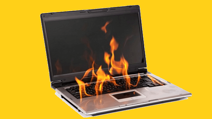 fire on the laptop